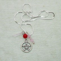 Handmade Pentagram, Pink Quartz Gemstone on Sterling Silver Necklace - $19.99