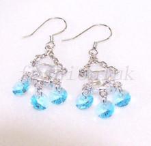 Women Swarovski Element Crystal White Gold Plated Birthday Dangle Hook Earrings - $17.70