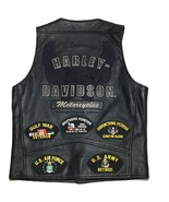 Harley Davidson Mens Leather Vest M Snap Closure Embroidered Spell Out L... - $157.16