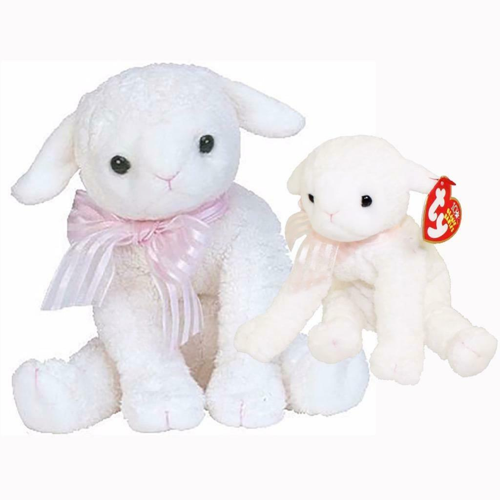 Lullaby The Lamb Retired Ty Beanie Baby and Buddy Set MWMT Collectible