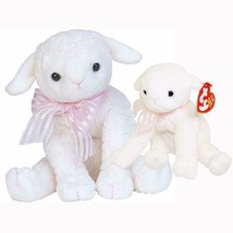 Lullaby The Lamb Retired Ty Beanie Baby and Buddy Set MWMT Collectible - $44.50