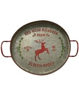 Christmas Red Nose Reindeer Metal Tray Rustic Farmhouse Holiday  - $65.95
