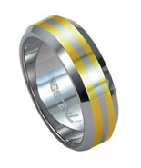Tungsten Comfort feel Ring with Gold Stripes Size10.50 - $65.24