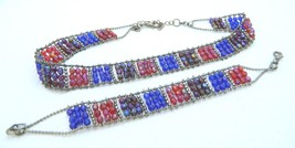 VTG Silver Tone AB Red Blue Purple Faceted Beaded Glass Necklace & Brace... - $49.50