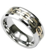 Tungsten Ring with Gold Chain design 8mm Wide Size10.25 - $84.74