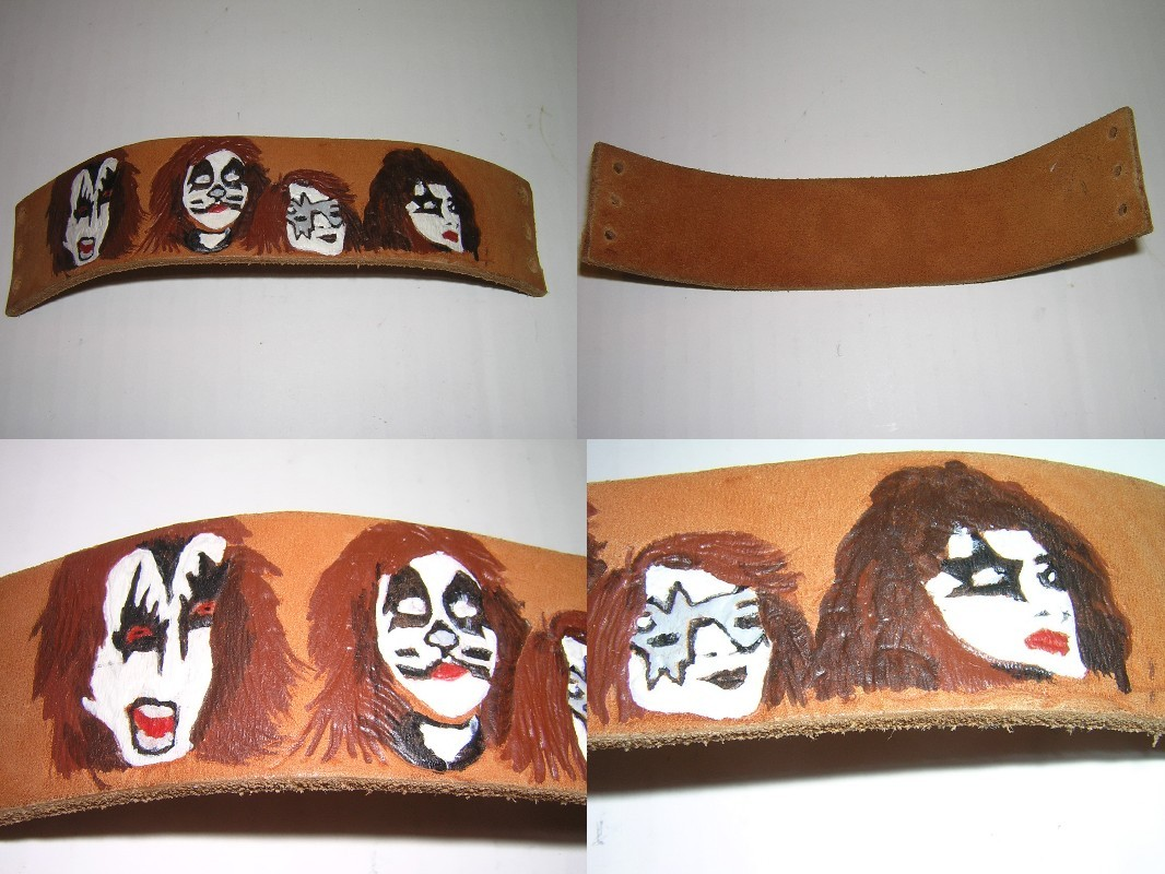 KISS Leather Carved and Painted Wrist Band