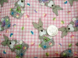JELLY BEAN PARADE EASTER BUNNY PINK GINGHAM FABRIC - $19.99