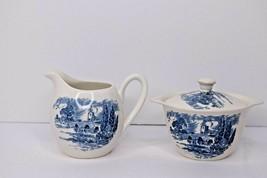 Vintage Enoch Wedgewood Countryside Sugar & Creamer Set Blue & White Eng... - $21.78