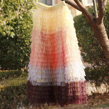 Women Maxi Tiered Tulle Skirt Outfit Plus Size Pink Blue Romantic Party Outfit image 11