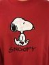 Vintage Snoopy Sweatshirt L Red Embroidered Peanuts Lee USA Charlie Collectible image 2