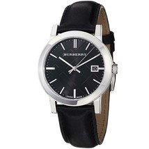 Burberry BU9009 Large Check Black Dial Swiss Made Mens Watch - $155.43