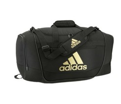 BLACK/GOLD METALLIC adidas Defender III Medium Duffle Bag (D) - $168.29