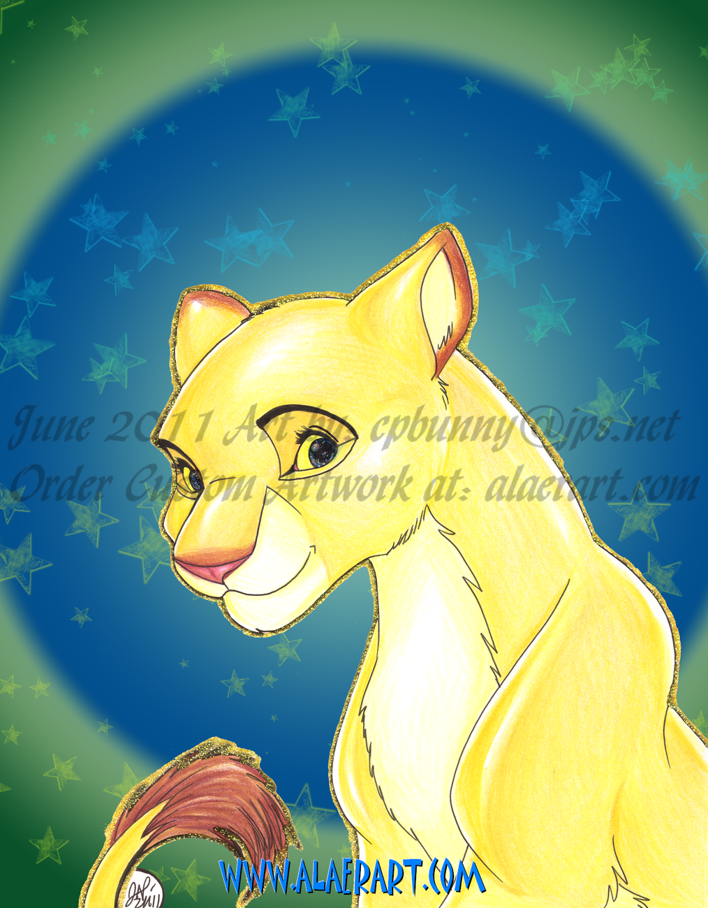 The Lion King Original & Print Fan Art 4pc - Simba w Pumpkin & Nala +Free Gifts!