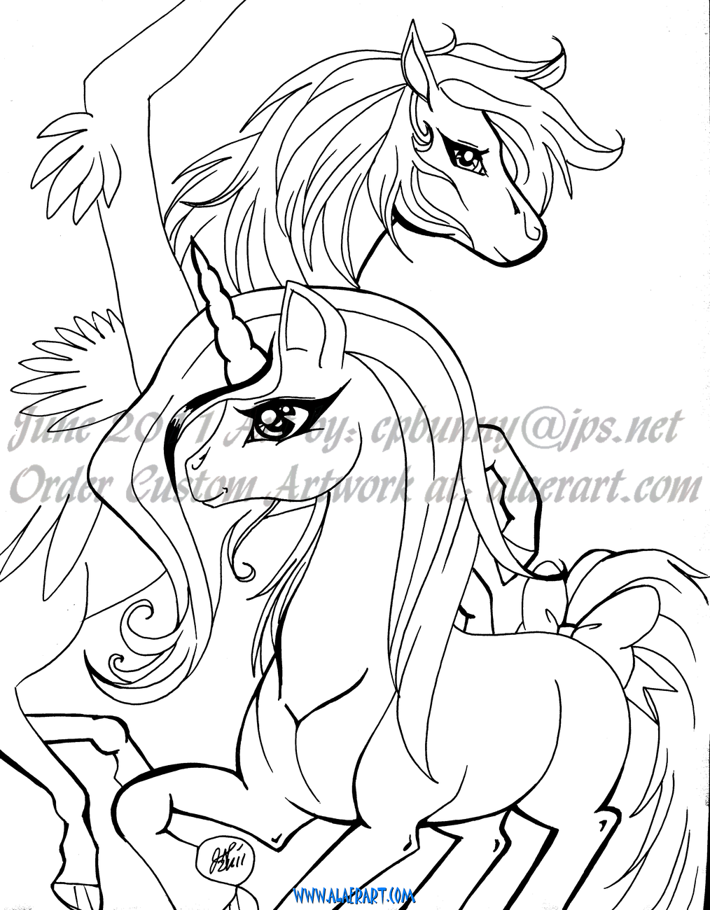 Fantasy Rainbow Unicorn & Curious Bunny Rabbit Originals + Prints Fan Art 5pc!