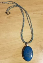 beautiful carribean blue dyed howlite stone set in crystal beaded necklace - $21.78