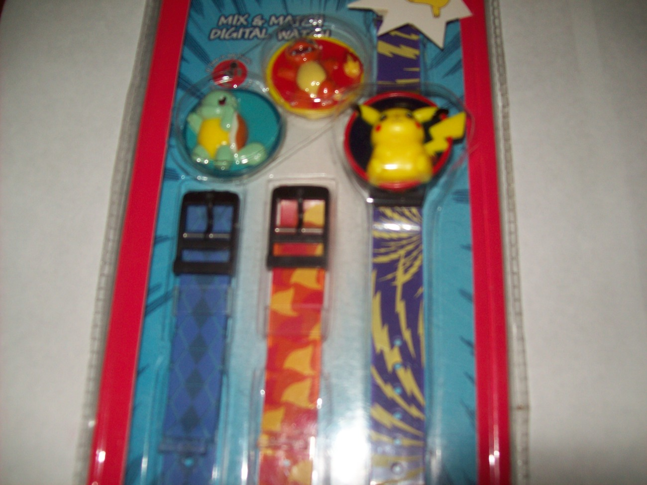 pokemon watch pikachu squirlte charmander 3 different bands new in package