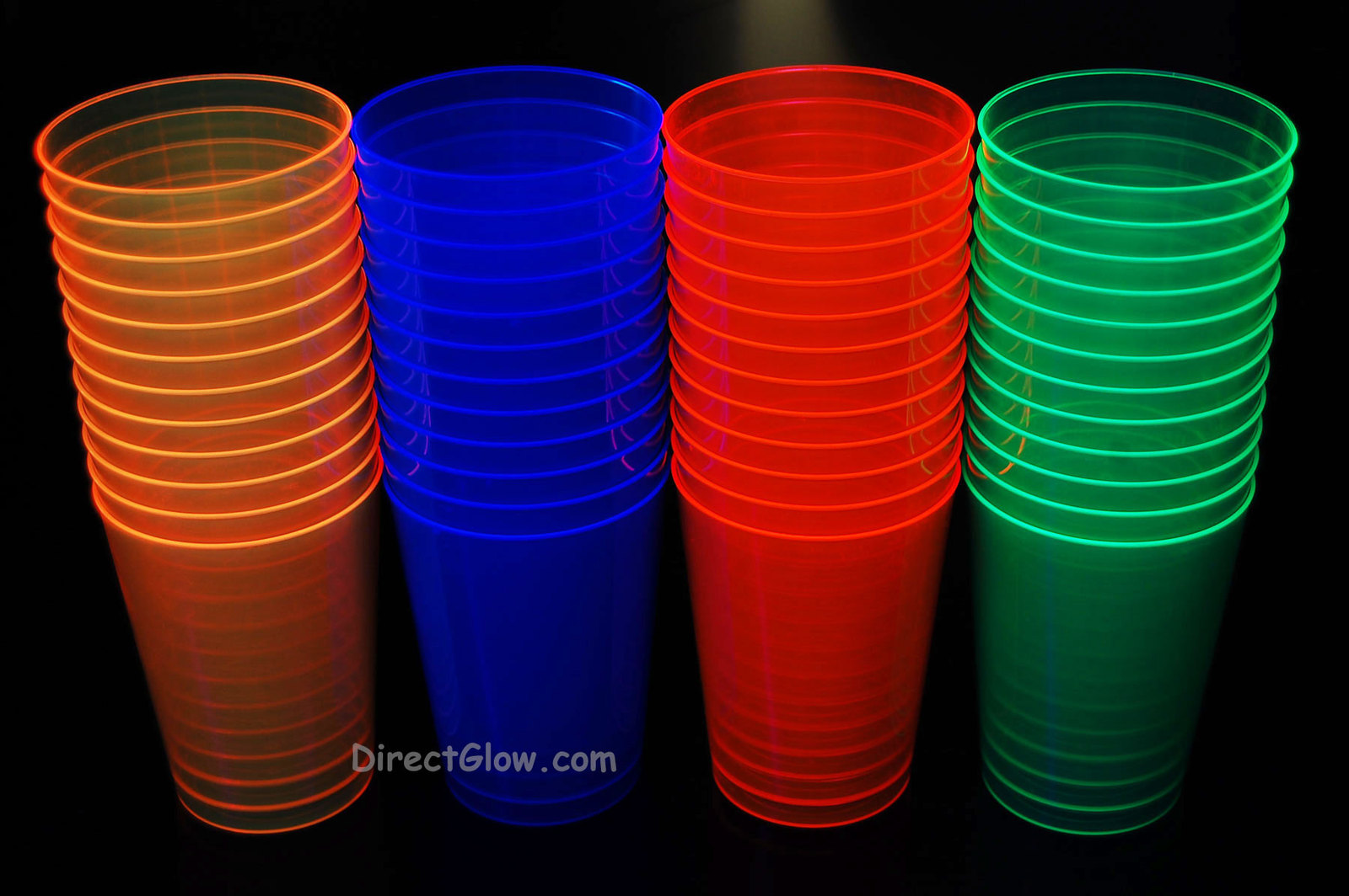 Assorted Neon Blacklight Reactive 10oz Party Cups 100ct