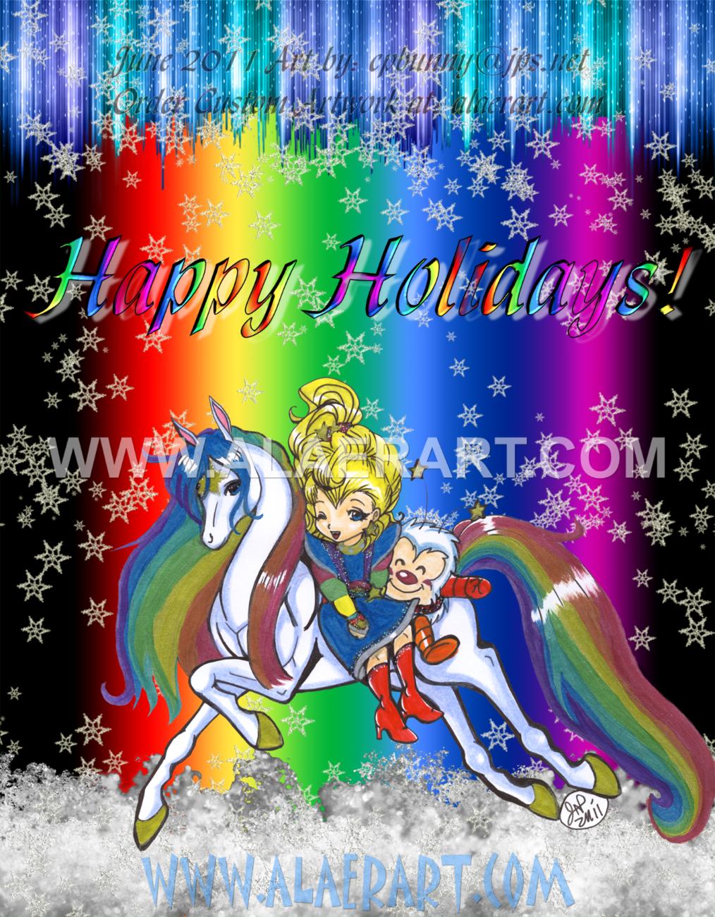 Rainbow Brite & Twink on Starlite Horse Classics Glossy Print Holiday Fan Art!