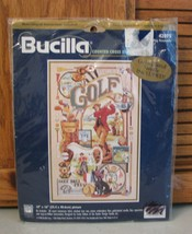 Bucilla Golfing Memorabila Vintage 1998 Cross Stitch Gold Plated Needle 10x16  - $15.83