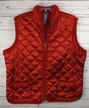 Laura Scott Quilted Vest Size 18W Red Satin with Corduroy Trim - $18.99