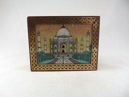 Beautiful Hand Crafted Crushed Gemstone Taj Mahal Wood Lined Box Brass A... - $19.79