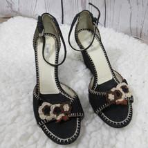 Prada Sandalias de Cuña Mujer 38 Negro Flores Tela 7.6cm - $52.06