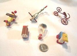Miniature Vintage Wooden Toy Set Airplane Train Truck Stick Horse Ship in Bottle - $14.99