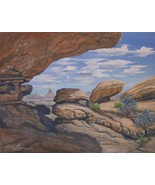 Utah's Vast Boulder Desert Petroglyphs Landscape Original Realistic Oil ... - $340.00