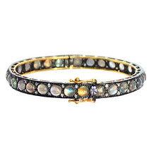 Diamond Labradorite Gemstone Bracelet 14 K Yellow Gold Bangle Sterling S... - $722.70
