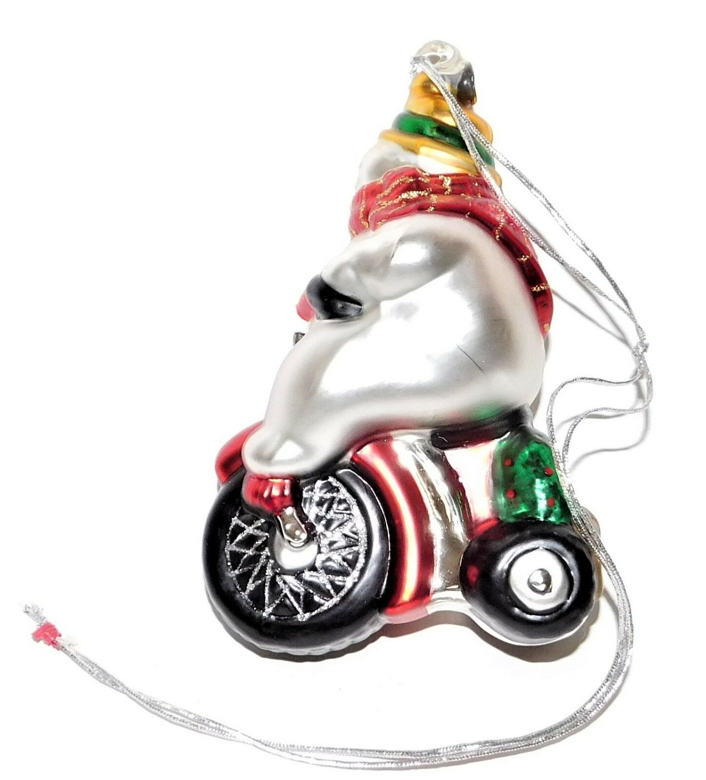 Dept 56 Mercury Glass Snowman Riding Tricycle Ornament 77056 Hand Painted in Box - $29.69