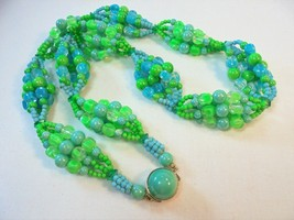 Vintage Greenery Green/Blue Celluloid Plastic L... - $19.75