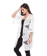 Stunning Crisp White Eyelet Lace / Organza Sunburst Design Kimono by Adore - $49.90