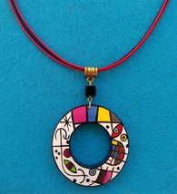 Art Pendant from wood handmade acrylic painting Joan Miró Jewelry Gift - $16.34