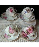 Vintage Lot 4 CHINA TEA CUPS & SAUCERS Royal Grafton Delphine Jason Quee... - $27.15