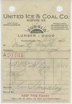 1926 United Ice & Coal Co. Billhead Receipt Harrisburg PA Sun Glo Lumber... - $5.00