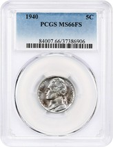 1940 5c PCGS MS66 FS - Jefferson Nickel - $63.05
