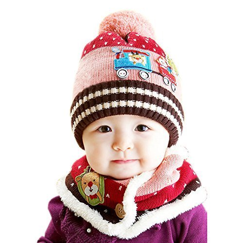 Chrismas Baby Child Toddler Cotton Knitting Wool Hat/Cap&Scarf Pink 10-36 Months