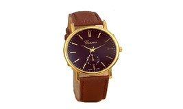 Brown Classic Geneva Men Leather Analog Quartz Vogue Wristwatch - $14.39