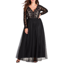 City Chic Womens Plus XS/14 Black Long Sleeve Lace Bodice Lined Maxi Dre... - $56.37