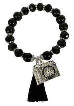 Camera Photographer Black Glass & Stone Beaded Tassel Stretch Bracelet Jewelry - $15.83