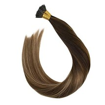 Ugeat Keratin I Tip Straight Human Hair Extensions 14inch #2/6/12 Balayage Brown