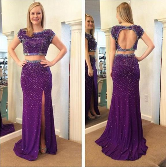 purple prom dress,long Prom Dress,beaded prom dress,two pieces prom dresses