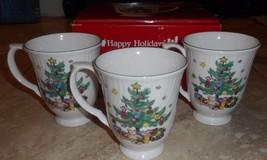 Nikko Japan Porcelain Happy Holidays Footed Mugs (3) Nib Christmas - $14.65