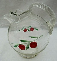 Glass Juice Pitcher Cherries Clear Water Ball Ice Lip Tilted Anchor Hocking - $29.69