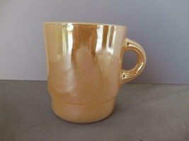 Fire King Anchor Hocking mug peach luster carnival glass coffee tea - $9.75