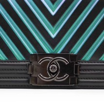 AUTH CHANEL SO BLACK IRIDESCENT LIMITED EDITION CHEVRON CALFSKIN SMALL BOY FLAP  image 7