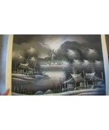 Oriental Asian Painting Black & White Oriental Village by River by Chian... - $74.25