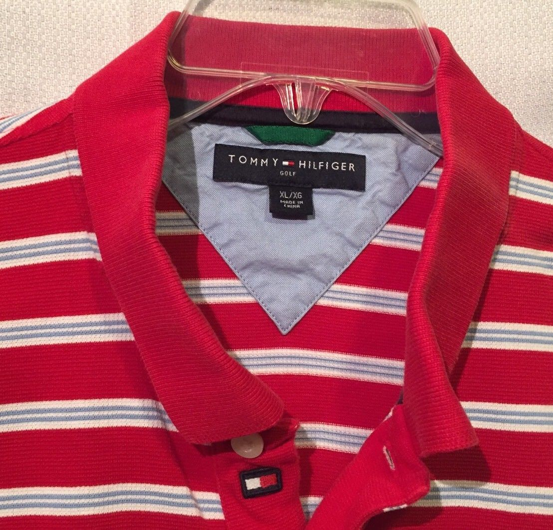 9f18db8ac44e Tommy Hilfiger Golf Polo Shirt Size XL Red White Blue striped Logo Collar  Cotton