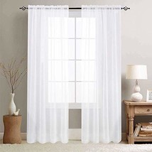 White Sheer Curtains for Living Room 95 Inch Length Window (W55 x L95|Wh... - $38.80