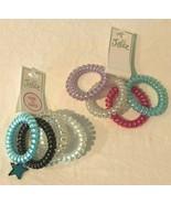Justice Girls Stretch Bracelets Lot 2 Packs 4 Each Purple Pink Blue Whit... - $5.99